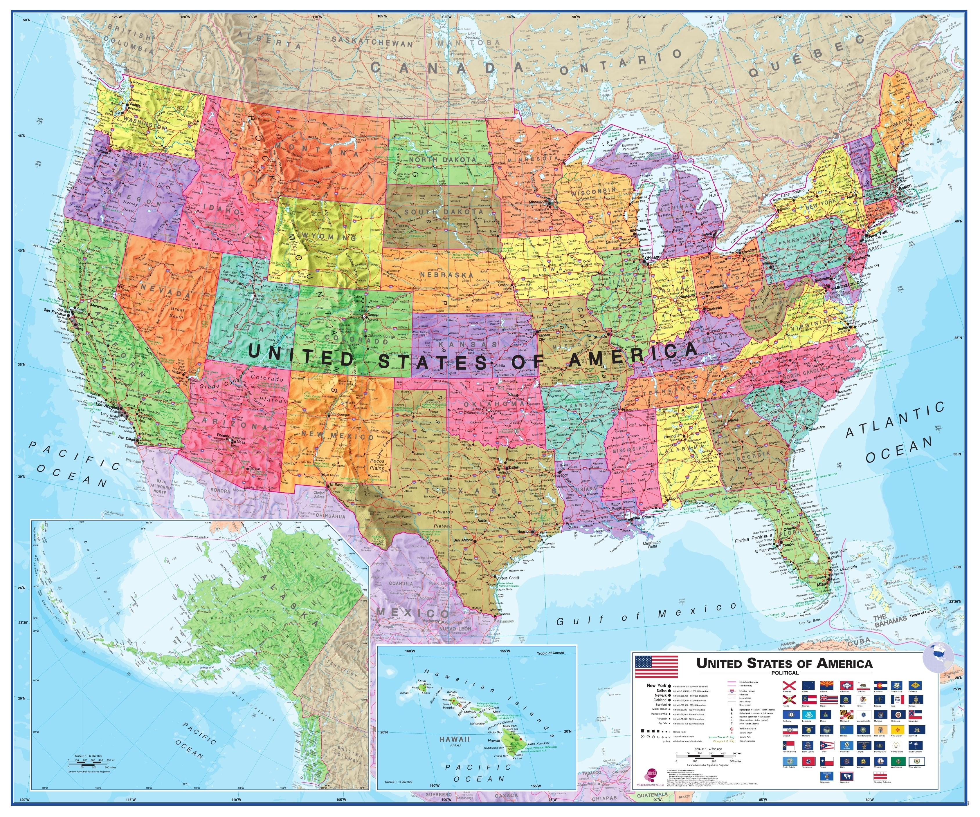 landkarte amerika Politische USA Landkarte   USA   Länderkarten   Landkarten  landkarte amerika