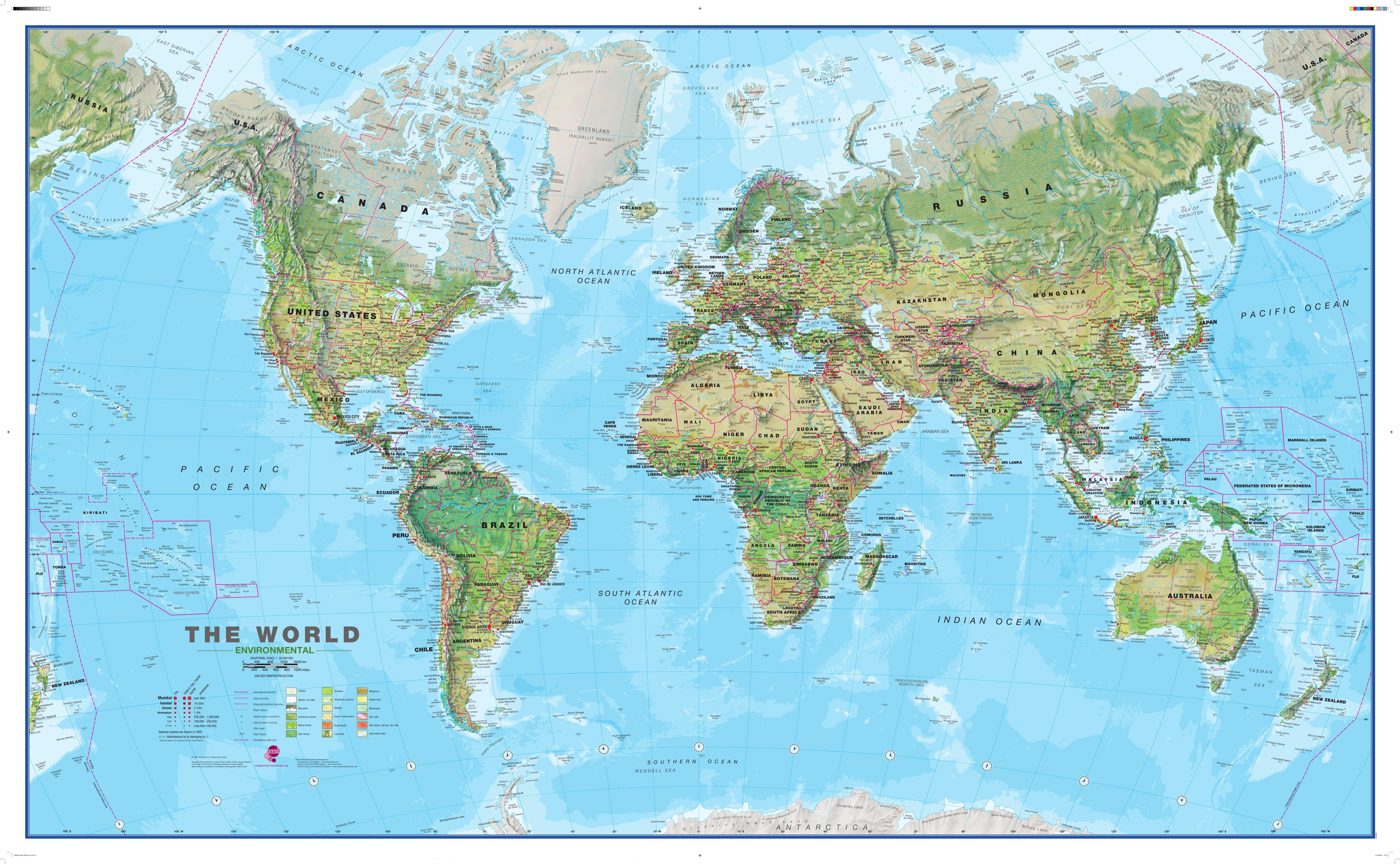 Karte Erde.Physikalische Weltkarte 1 20 Mio 195 X 120cm