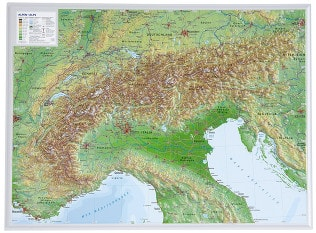 3D Reliefkarte Alpen klein 39 x 29cm